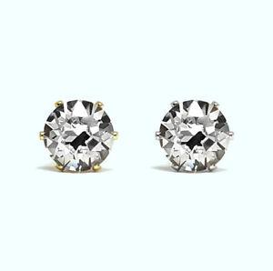 Crystal Earrings Stud NON-TARNISH 6mm SWAROVSKI Crystal 14K Gold Rhodium Silver