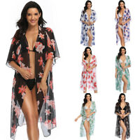 Womens Sheer Cardigan Cover Up Flower Beachwear Swimwear Bikini Beach Wear Dress