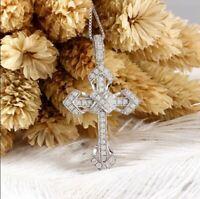 1.65Ct Round Cut VVS1/D Diamond Cross Pendant 14K White Gold FiN Free Chain