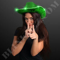 Adult Womens Blinking GREEN LED Cowboy Hat Costume Party Fun