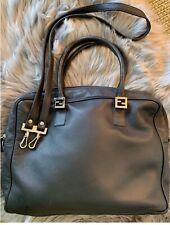b3bcda0062 FENDI Twins Tote Bag Purse with Strap - Black leather