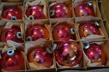 Vintage Shiny Brite Red Pink Christmas Glass Ball Ornaments 12 in Fantasia Box