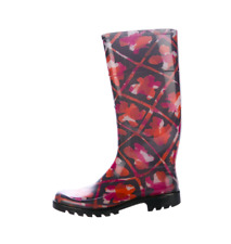 New BURBERRY Carleton Rainboot Floral Geometric Plum Pink Sz 38 US 7.5 MSRP $350