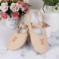 New Kids Girls Leather Soft Ballet Dance Shoes Slippers Split Sole Flat UK Size