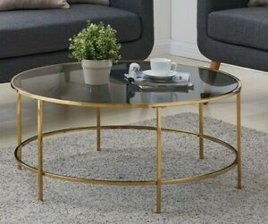 Round Coffee Table Gold With Smoked Glass Centre Table Living Room Furniture