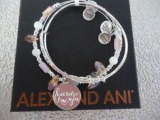 Alex and Ani BECAUSE I LOVE YOU SET OF 3 Bracelets Shiny Silver W/ Tag Card Box