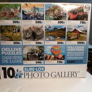 Box of 10 Sure-Lox  Photo Puzzle's.  2/300-- 5/500--2/750--1/1000, piece puzzles