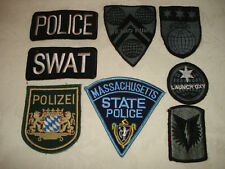 Lot of 8 POLICE AND FIRE PATCHES, SWAT, MASSACHUSETTS, POLIZEI, LAUNCH OXY