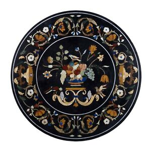 """36"""" Marble Dining Table Top Inlay Rare Semi Round Center Coffee Table AR0883"""