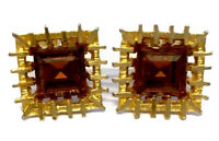 """VINTAGE PAIR Large Gold Tone / Plated Citrine Paste CUFFLINKS """" GIFT BOXED """""""