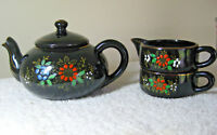 Vintage Teapot Creamer Sugar Bowl Set Made Japan Black Gold Trim Embossed Floral