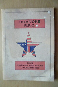 ROANOKE RUGBY FOOTBALL CLUB Tour England and Wales November 1979