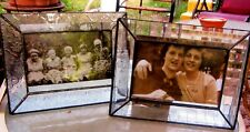 "LOT OF 2 LOVELY J. DEVLIN LEADED GLASS STANDING FRAMES--4"" X 6""--NEW W/ TAGS"