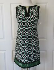 NWT LONDON TIMES Women's Sz 4 Sleeveless Multi Print Sheath Dress Navy Grn White