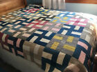 Antique Patchwork Multi-color Good Luck Cross Hand Stitched Quilt~Pre WWII~80X67