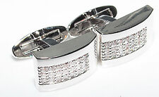 Mens Stylish Rhodium Electroplated Rectangle Cufflinks Set With Brilliant Rounds