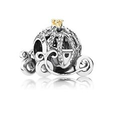 Authentic Pandora Silver 14K Gold Disney Cinderella Pumpkin Coach Bead 791573CZ