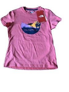 The North Face Spice Coral T-Shirt Girls Size S Small NWT Graphic Tee