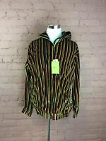 NWT Mens Godbody Track Suit Jacket Size XL Velour Multicolored Full Zip T-08