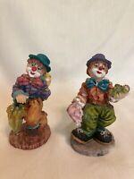 "Clowns- Pair of adorable Circus Clowns resin/plaster 4"" Tall, 4 oz wt ea."