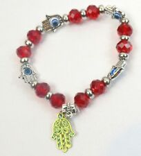 Evil Eye Hamsa Bracelet Stretch String Beads Lucky Amulet Red Silver NEW NWT
