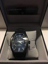 Montres De Luxe Mens GMT Estremo Black blue Tonneau Leather Watch NEW