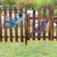 2pcs Handmade Art Wall Decoration Metal Gecko Outdoor Sculpture Garden Yard Home