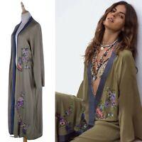 Womens Green /& Olive Green Velvet Floral Embroidered Beach Holiday Kimono Kaftan