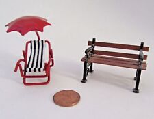 Miniature Fairy Garden Doll House Wood Bench and Lounge Chair with Umbrella