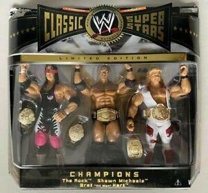 WWE WWF Classic Superstars Exclusive BRET HART ROCK SHAWN MICHAELS Figures MOC