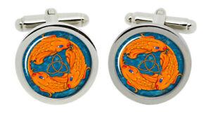 Triquetra Fish Christian Cufflinks in Chrome Box