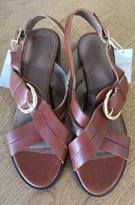 Monsoon Barbican Leather Sandal, Size 5/38, Tan, BNWT