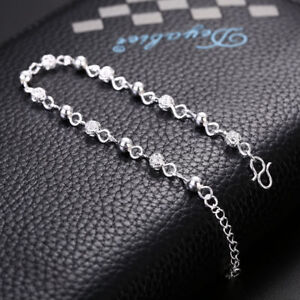 925 Silver Plated Bead Bracelet / Anklet 572 Gift Box Included