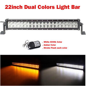 22inch Dual Colors Remote Led Light Bar Offroad 6000K White, Amber,Strobe Modes