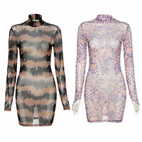 Damen Gedruckt Figurbetontes Kleid Transparent Langarm Minikleid Cocktailkleider