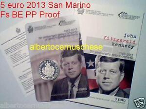 2013 5 euro Fs BE PP Proof SAN MARINO Saint Marin 50 morte Fitzgerald Kennedy