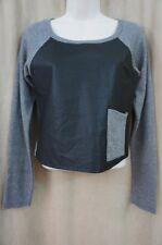 Teen Vogue for MStyleLab Juniors Top Sz XS Grey Black PU Casual Sweat Shirt