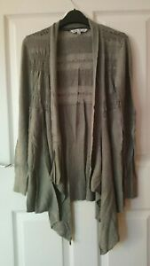 Fat Face Drape Cardigan Size 12-14 Green Olivine Cotton/Modal with embroidery