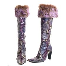 Casadei Vero Cuoio Genuine Snakeskin Boots Fur or Feather Top 6.5-7 Italy READ