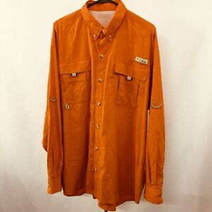 Columbia PFG Mens 2XL Orange Outdoor Fishing Shirt Long Sleeve 100% Nylon Vented