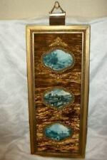 Velvet Ormolu Triple Plaque Blue Tint French Scenes Vintage Mid Century Wall Art