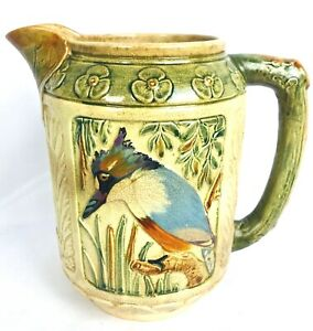 """WELLER POTTERY 8 1/2"""" ZONA  KINGFISHER & TWISTED TREE HANDLED PITCHER c1920s"""