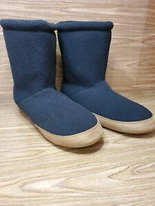 Lands' End Fleece Bootie Slippers BLACK Pull On Men Size 9 Womens Size 10.5 NEW