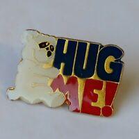 Hug Me! White Bear Block Letter Lapel Hat Jacket Pin Vintage Enamel