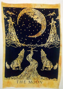 Wall Hanging Beautiful The Moon Design Cotton Fabric Handmade Tapestry Twin Size