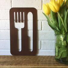 Rouillé couteau et fourchette signe metal shop Home Bar Pub Cafe Restaurant Cuis...
