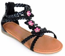 Girls Kids Multi Color Roman Thong Gladiator Sandals Flats Strapy Shoes Sz 11-4