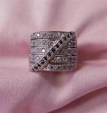 ladies 14k white gold wide 5 row round diamond black diamond band size 6 1/2
