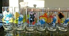 lot of 6 Hardees 82 Smurf glasses Gargamel Smurfette Lazy Gr - free shipping AA