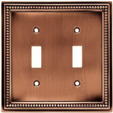Aged Brushed Copper Beaded Double Light Switch Wall Plate WallPlate Cover 64243